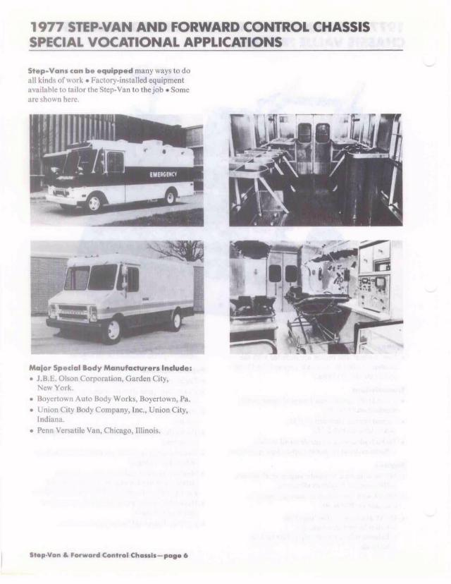 1977 Chevy Truck Values Product Training: Step-Van and FC Chassis